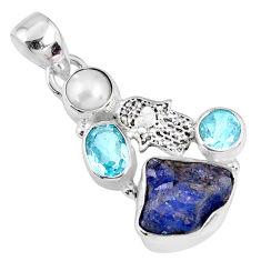 10.78cts natural blue tanzanite rough silver hand of god hamsa pendant r62068