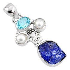 10.37cts natural blue tanzanite rough silver hand of god hamsa pendant r65043