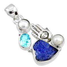 10.78cts natural blue tanzanite rough silver hand of god hamsa pendant r65046