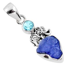 5.43cts natural blue tanzanite rough topaz 925 silver elephant pendant r61992
