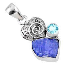 6.82cts natural blue tanzanite rough topaz 925 silver heart pendant r61967