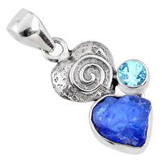 6.82cts natural blue tanzanite rough topaz 925 silver heart pendant r61968