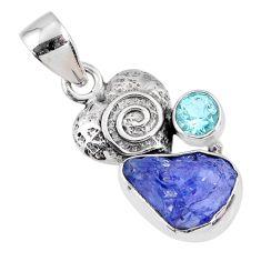 6.40cts natural blue tanzanite rough topaz 925 silver heart pendant r61987