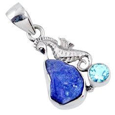 6.82cts natural blue tanzanite rough topaz 925 silver seahorse pendant r61991