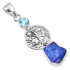 6.38cts natural blue tanzanite rough topaz 925 sterling silver pendant r61970
