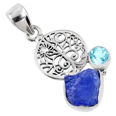5.64cts natural blue tanzanite rough topaz 925 sterling silver pendant r61971