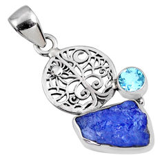 6.03cts natural blue tanzanite rough topaz 925 sterling silver pendant r61975