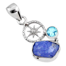 5.84cts natural blue tanzanite rough topaz 925 sterling silver pendant r61988