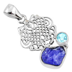 6.26cts natural blue tanzanite rough topaz 925 sterling silver pendant r61997