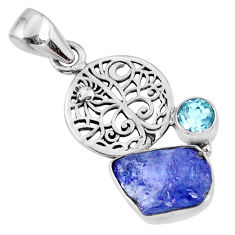 5.84cts natural blue tanzanite rough topaz 925 sterling silver pendant r61998