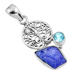 6.40cts natural blue tanzanite rough topaz 925 sterling silver pendant r61999