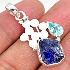 7.61cts natural blue tanzanite rough topaz 925 sterling silver pendant r62005