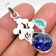 8.05cts natural blue tanzanite rough topaz 925 sterling silver pendant r62006