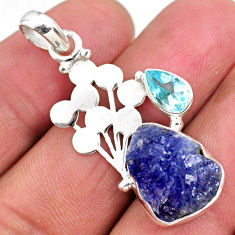 8.75cts natural blue tanzanite rough topaz 925 sterling silver pendant r62011