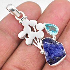 8.03cts natural blue tanzanite rough topaz 925 sterling silver pendant r62012