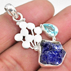 9.05cts natural blue tanzanite rough topaz 925 sterling silver pendant r62014