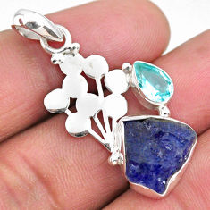 7.67cts natural blue tanzanite rough topaz 925 sterling silver pendant r62015