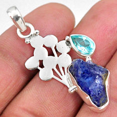 8.05cts natural blue tanzanite rough topaz 925 sterling silver pendant r62016
