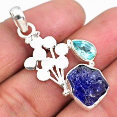 7.67cts natural blue tanzanite rough topaz 925 sterling silver pendant r62018