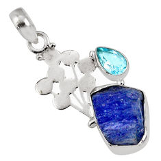 8.31cts natural blue tanzanite rough topaz 925 sterling silver pendant r62021