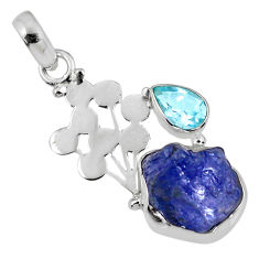 8.26cts natural blue tanzanite rough topaz 925 sterling silver pendant r62022