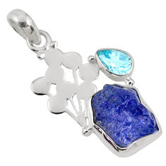 9.98cts natural blue tanzanite rough topaz 925 sterling silver pendant r62033