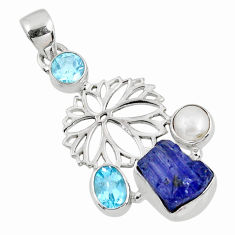 10.24cts natural blue tanzanite rough topaz 925 sterling silver pendant r62058