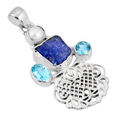 10.24cts natural blue tanzanite rough topaz 925 sterling silver pendant r62139