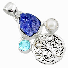 9.61cts natural blue tanzanite rough topaz 925 sterling silver pendant r65049