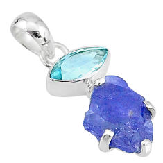 7.50cts natural blue tanzanite raw topaz 925 sterling silver pendant t6998