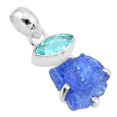 7.43cts natural blue tanzanite raw topaz 925 sterling silver pendant t6999