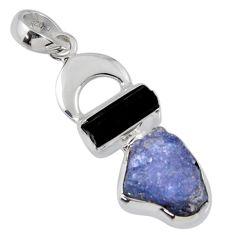 11.19cts natural blue tanzanite rough tourmaline rough 925 silver pendant r55510