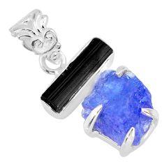 12.62cts natural blue tanzanite raw tourmaline rough 925 silver pendant r83022