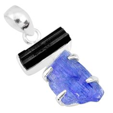 13.08cts natural blue tanzanite raw tourmaline rough 925 silver pendant r83025