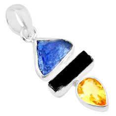 12.10cts natural blue tanzanite raw tourmaline rough 925 silver pendant r83041