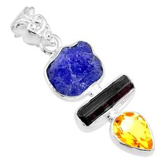 12.44cts natural blue tanzanite raw tourmaline rough 925 silver pendant r83043