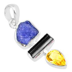 12.07cts natural blue tanzanite raw tourmaline rough 925 silver pendant r83070