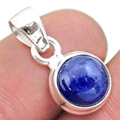 5.07cts natural blue tanzanite round 925 sterling silver pendant jewelry t44690