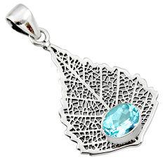 3.19cts natural blue topaz 925 sterling silver deltoid leaf pendant r48282
