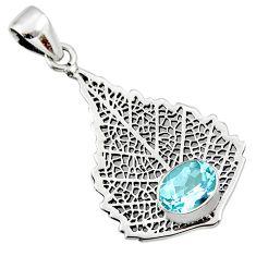 3.19cts natural blue topaz 925 sterling silver deltoid leaf pendant r48285