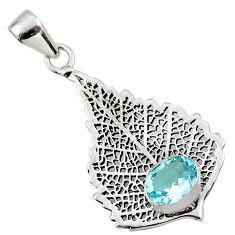 3.02cts natural blue topaz 925 sterling silver deltoid leaf pendant r48287