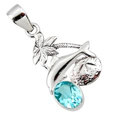 2.93cts natural blue topaz 925 sterling silver dolphin pendant jewelry r48310