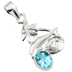 3.10cts natural blue topaz 925 sterling silver dolphin pendant jewelry r48311
