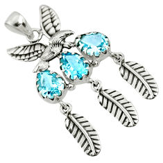 8.01cts natural blue topaz 925 sterling silver dreamcatcher pendant r67731