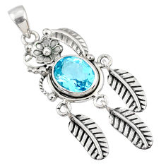4.38cts natural blue topaz 925 sterling silver dreamcatcher pendant r67805
