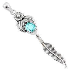 4.21cts natural blue topaz 925 sterling silver dreamcatcher pendant r67923