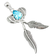 4.50cts natural blue topaz 925 sterling silver dreamcatcher pendant r67927