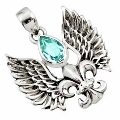 2.41cts natural blue topaz 925 sterling silver feather charm pendant d44842