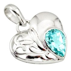 2.92cts natural blue topaz 925 sterling silver heart pendant jewelry d45639
