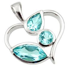 7.97cts natural blue topaz 925 sterling silver heart pendant jewelry d45648